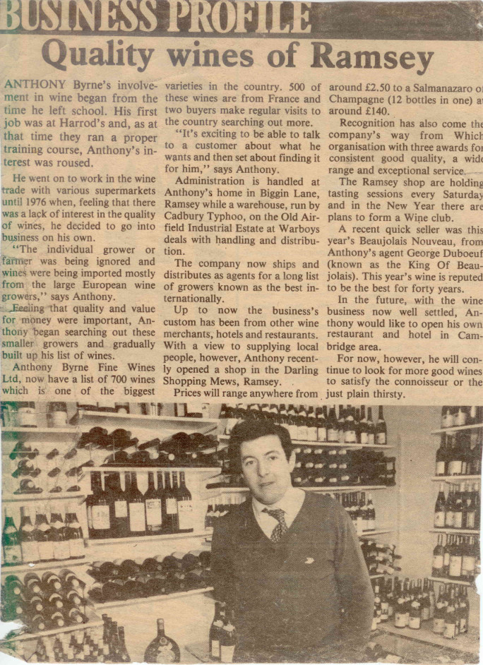 Anthony Byrne wine shop 1980.